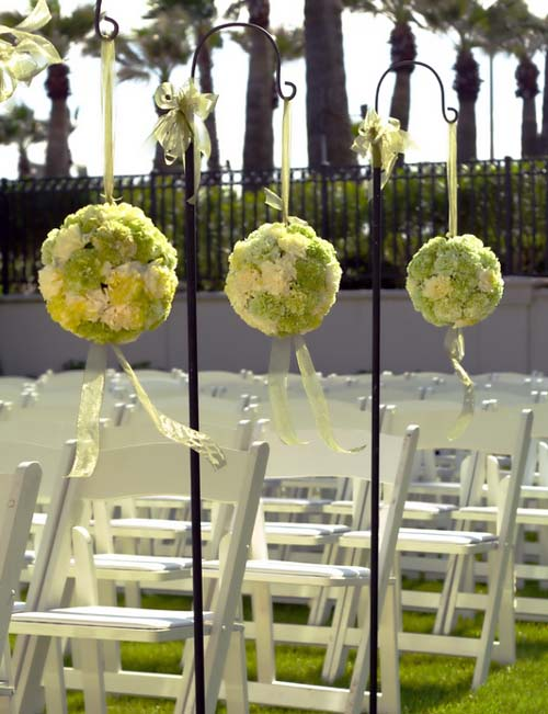 Carnation Pomanders for wedding aisle