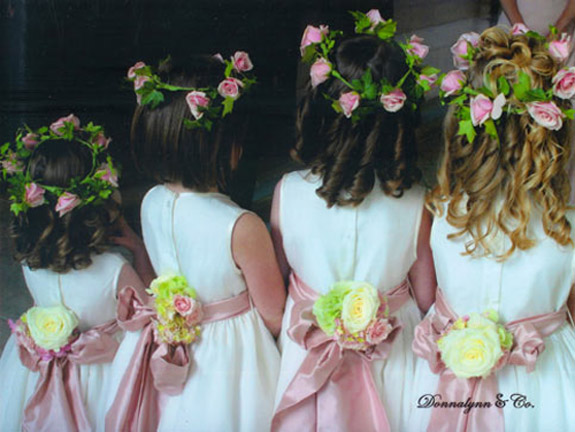Flower girls wreaths and sashes by The Wildflower Floral Design