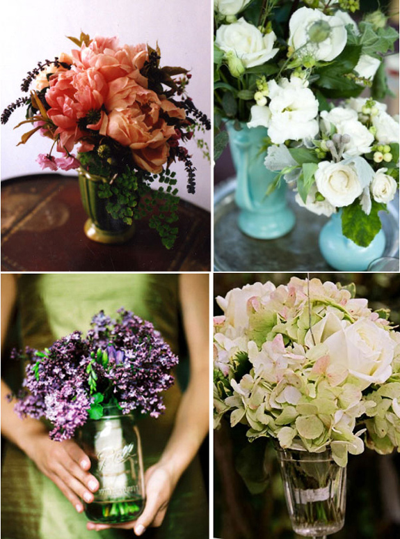 Bridemaid bouquets as table centerpieces