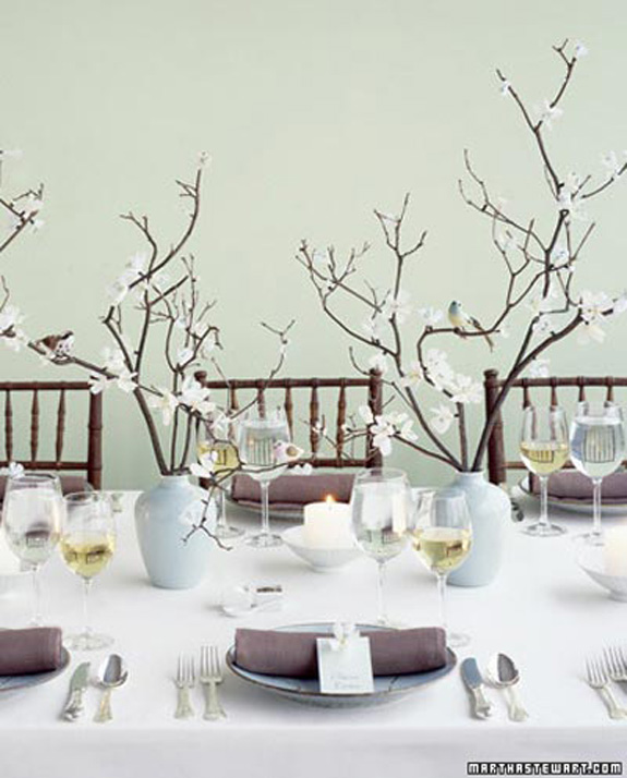 of adornments for simple branch centerpieces Or simply leave them bare