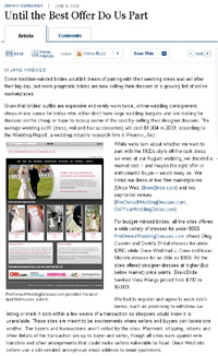 PreOwnedWeddingDresses.com in the Wall Street Journal