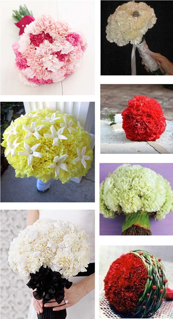 Carnation wedding bouquets