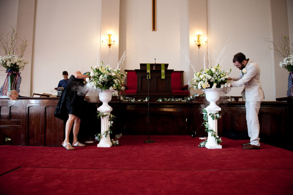 Real Wedding Karen Mark At the alter fog gushed out of the flower urns