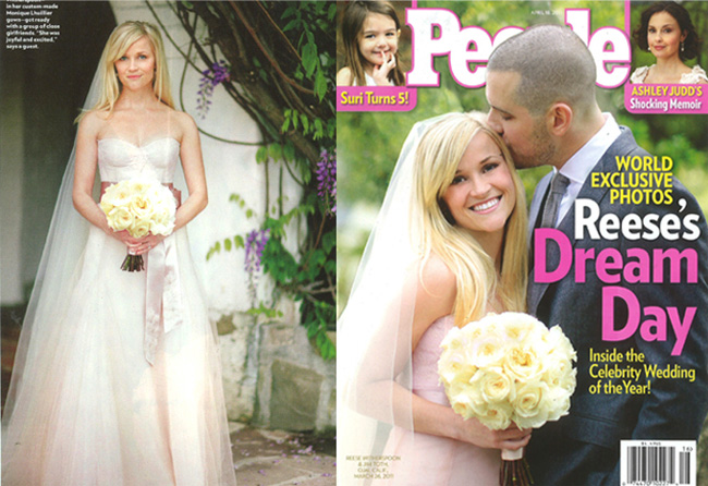 Reese Witherspoon 39s Monique Lhuillier Wedding Dress April 4th 2011