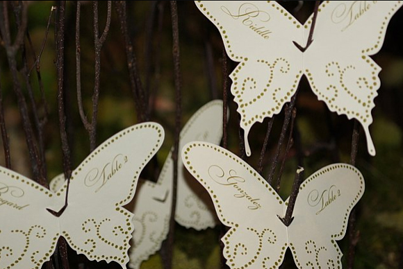butterflyshaped seating cards and menu cards