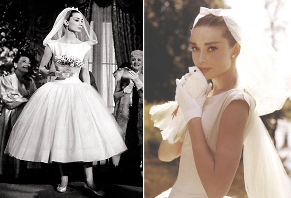 Audrey Hepburn's wedding dress in the movie Funny Face is Amanda's pick for