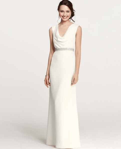 Cowl Neck Wedding Gown: Ann Taylor Collection. Perfect For Second Wedding Dresses