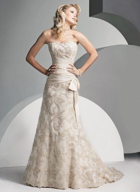 One piece strapless wedding dress for 2nd wedding dresses older bride