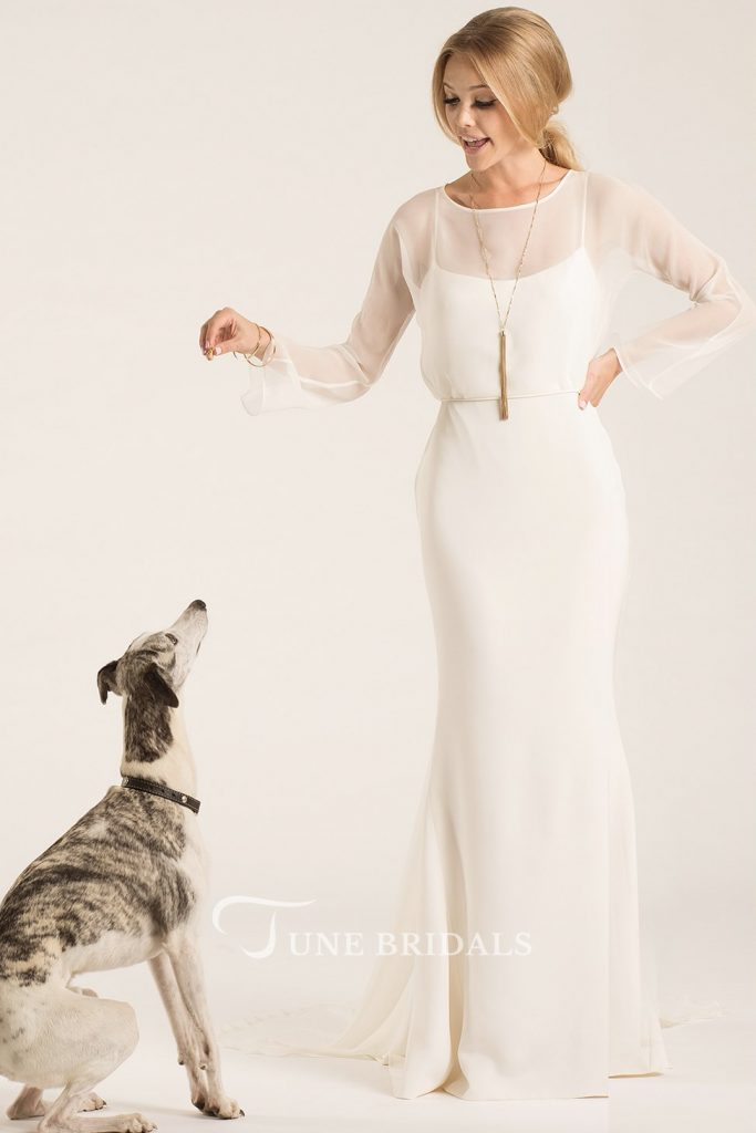 Scoop Long-Sleeve Chiffon Gown June bridals