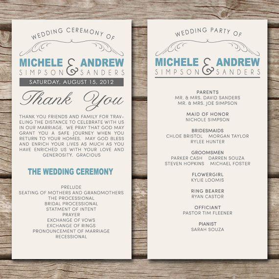 wedding program wording help