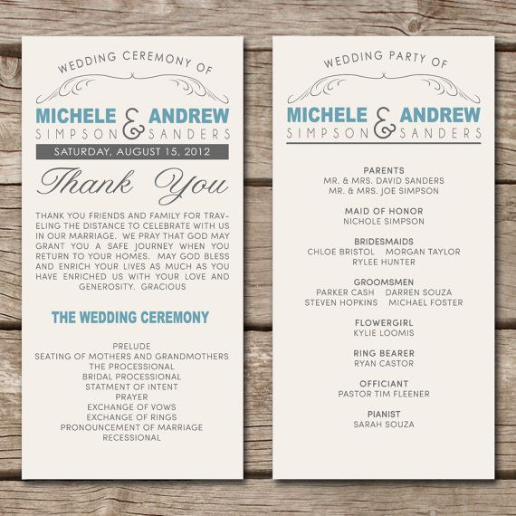 wedding program wording help