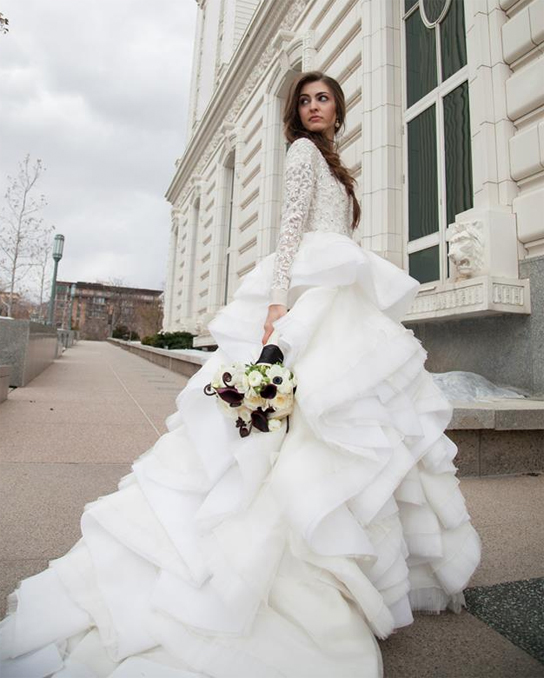 pre owned long sleeve wedding dresses