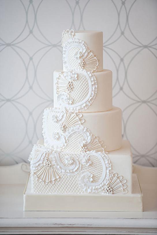All White Wedding Cakes   PreOwnedWeddingDresses.com
