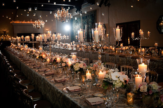 Seating For 100 Takes On An Intimate Feel With The Guest List Split Between Two Long Tables Candles And Rich Linens Create A Sumptuous Experience