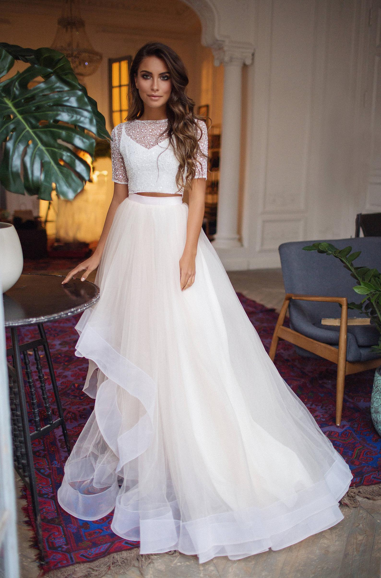 Embellished Crop Top with Horsehair Skirt | Mila Bridal
