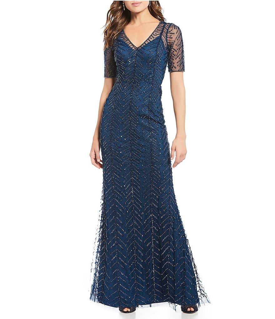 Beaded V-Neck Gown | Adrianna Papell