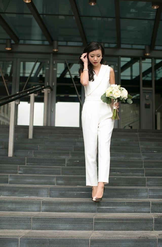 white wedding pants suit