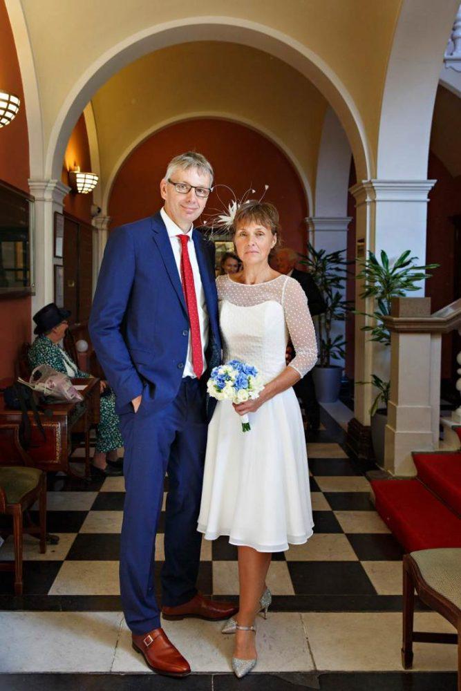 knee-length polka dot second wedding dress