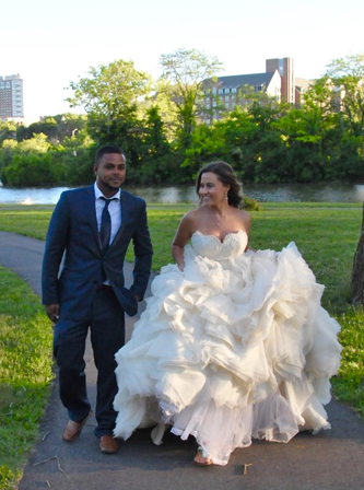 used Lazaro wedding dress for sale