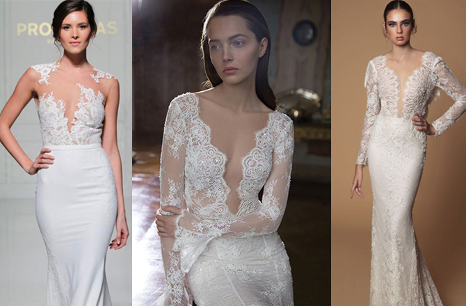 daring necklines | wedding dress trends