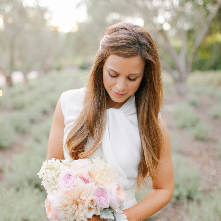 straight and soft wedding hairstyle