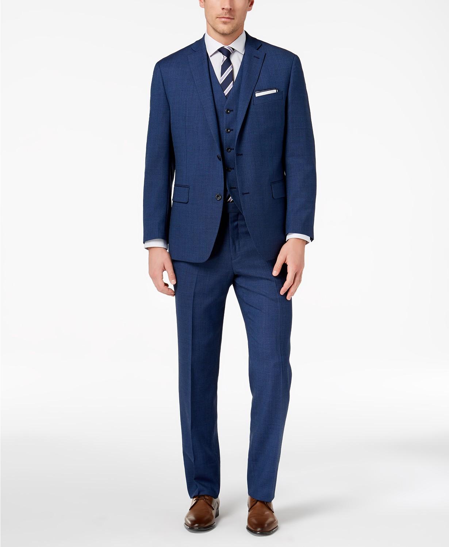 MIchael Kors Men's Classic-Fit Blue Birdseye Vested Suit