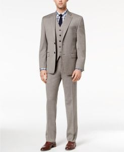 Lauren by Ralph Lauren Men's Classic-Fit Ultra Flex Taupe Birdseye Vested Suit