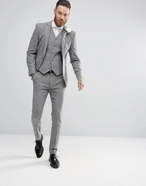 ASOS DESIGN Wedding Super Skinny Suit in Gray Houndstooth