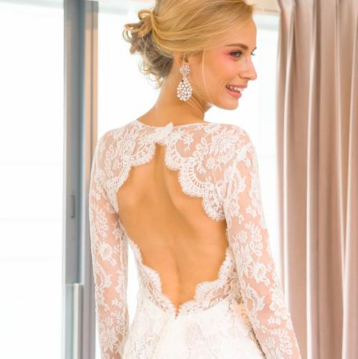 Oscar de la renta lace wedding dress
