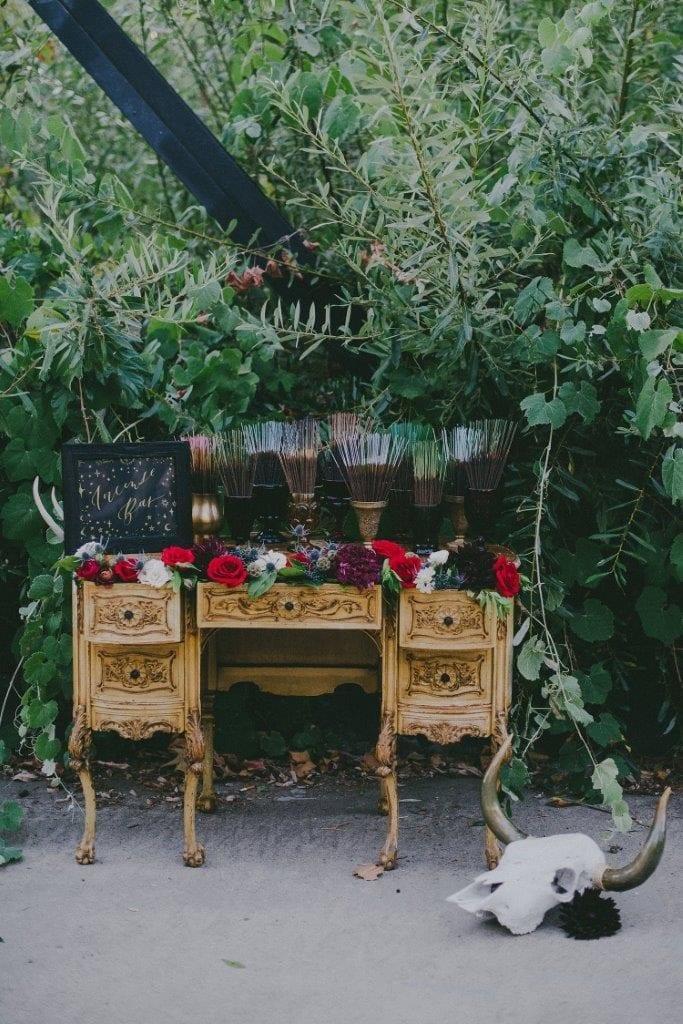 incense bar at a wedding