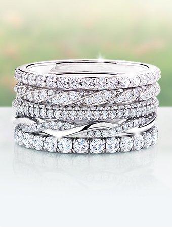 stacks of wedding bands