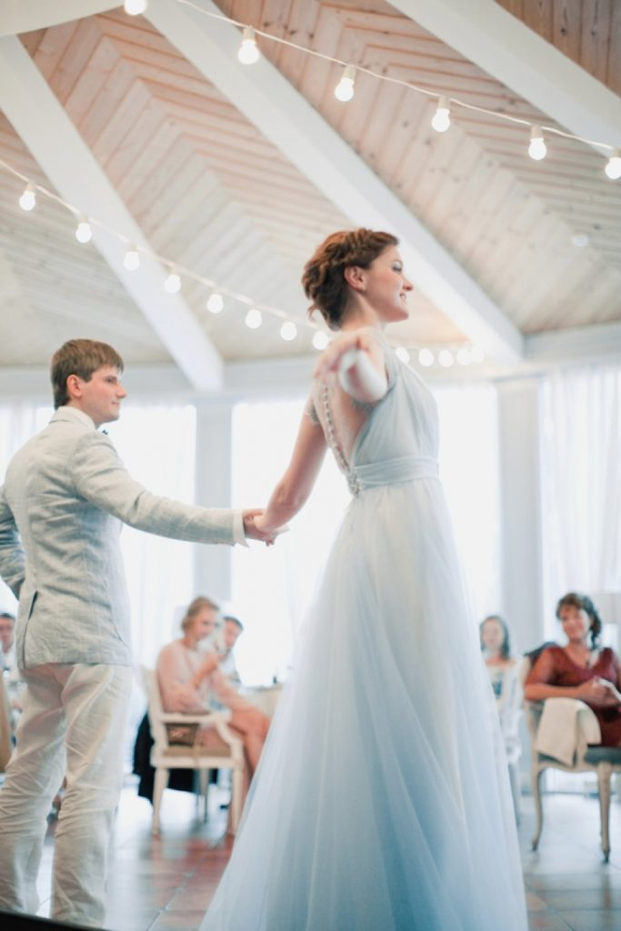 powder blue wedding gown