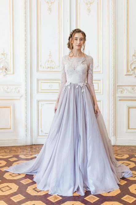 lilac wedding gown