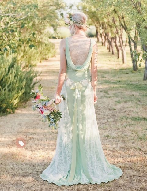 mint green wedding gown