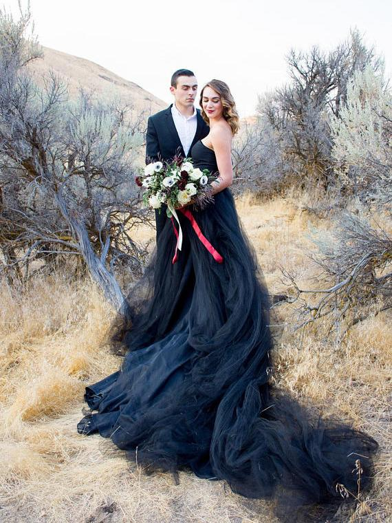 black wedding gown