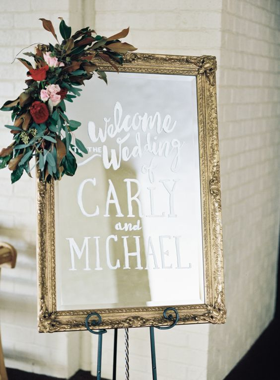 handmade mirrored wedding sign