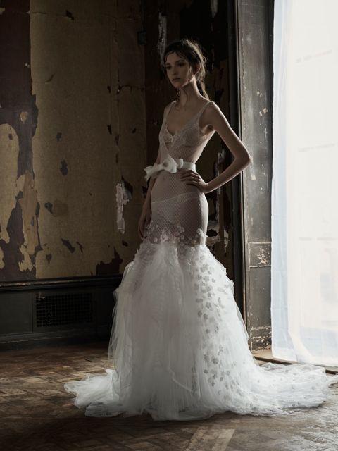Model wearing Vera Wang mermaid wedding dress
