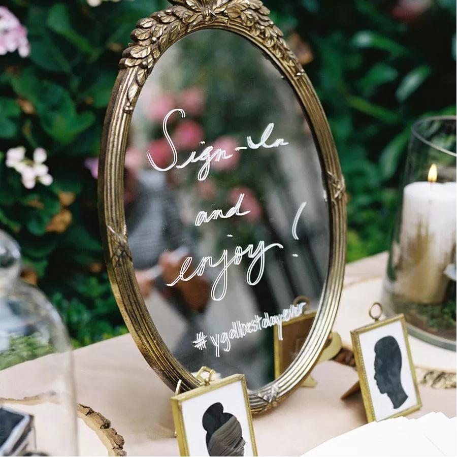 handmade mirrored wedding sign