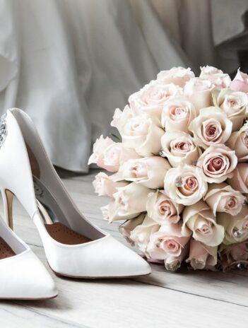 wedding bouquet and heels