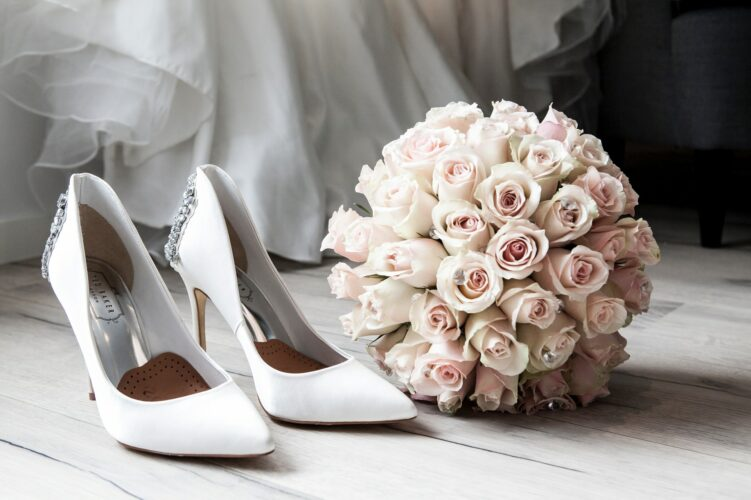 wedding bouquet and heels