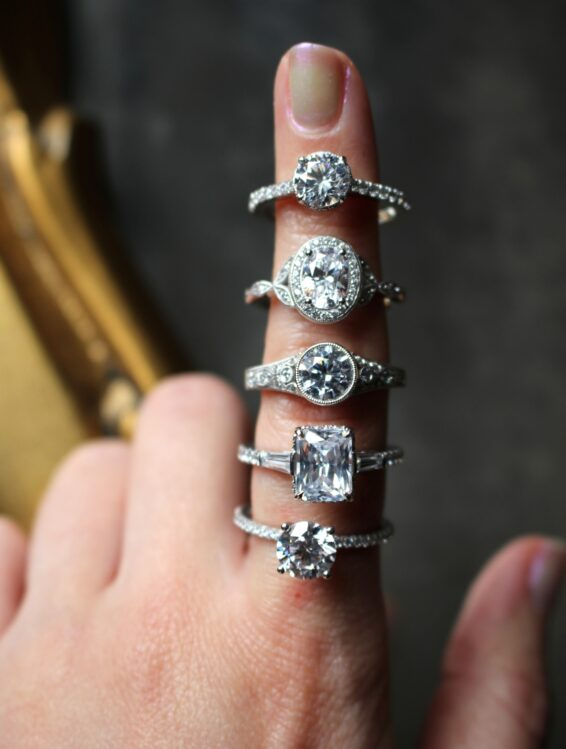 Finger with multiple engagement rings