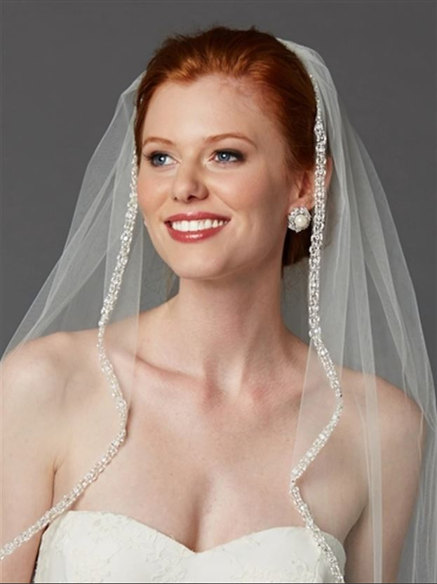 bride wearing rhinestone edge veil