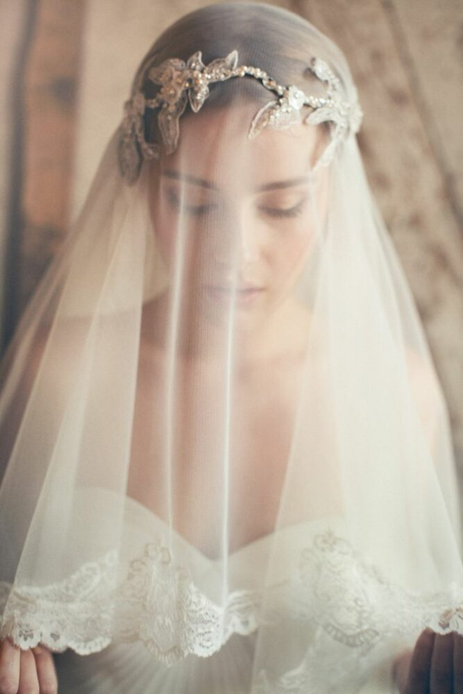 Bride wearing blusher veil