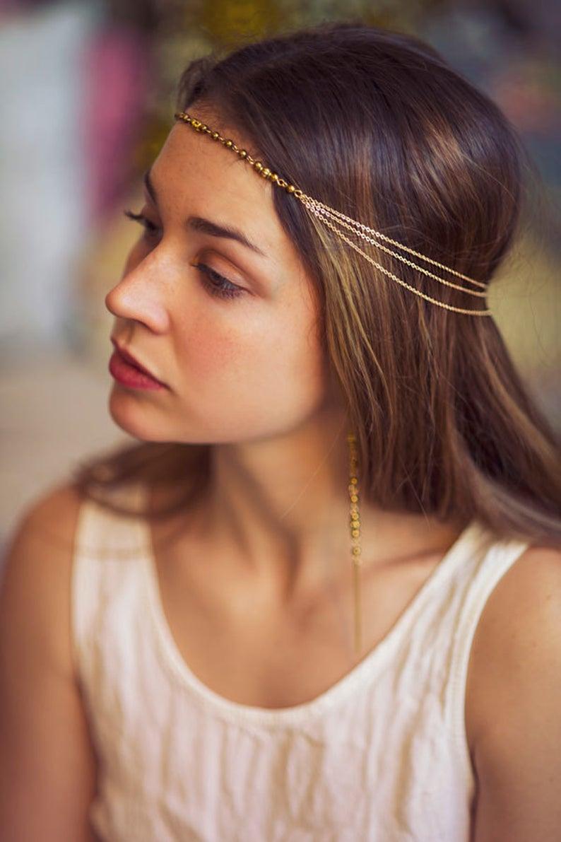 24k gold bridal hairchain
