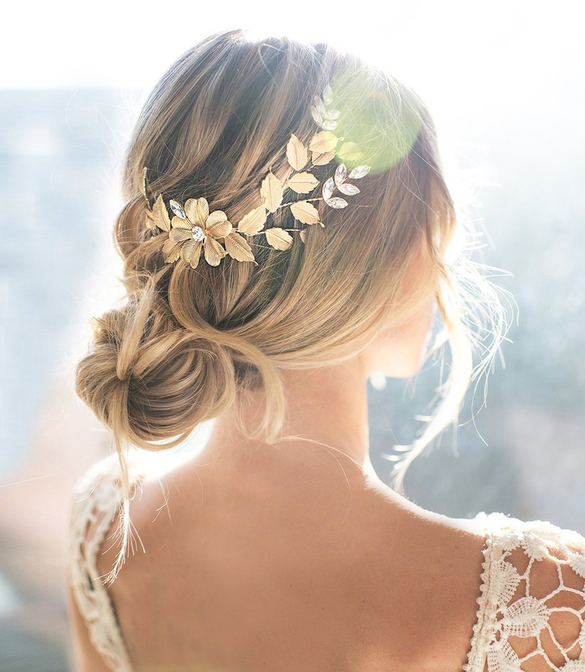 Bride wearing barrette accessory