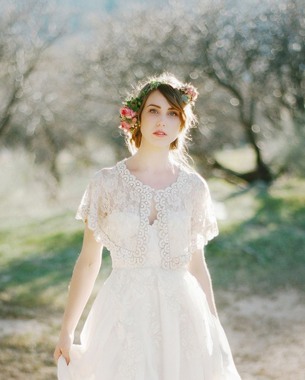 Bride wearing flower crown outdoors