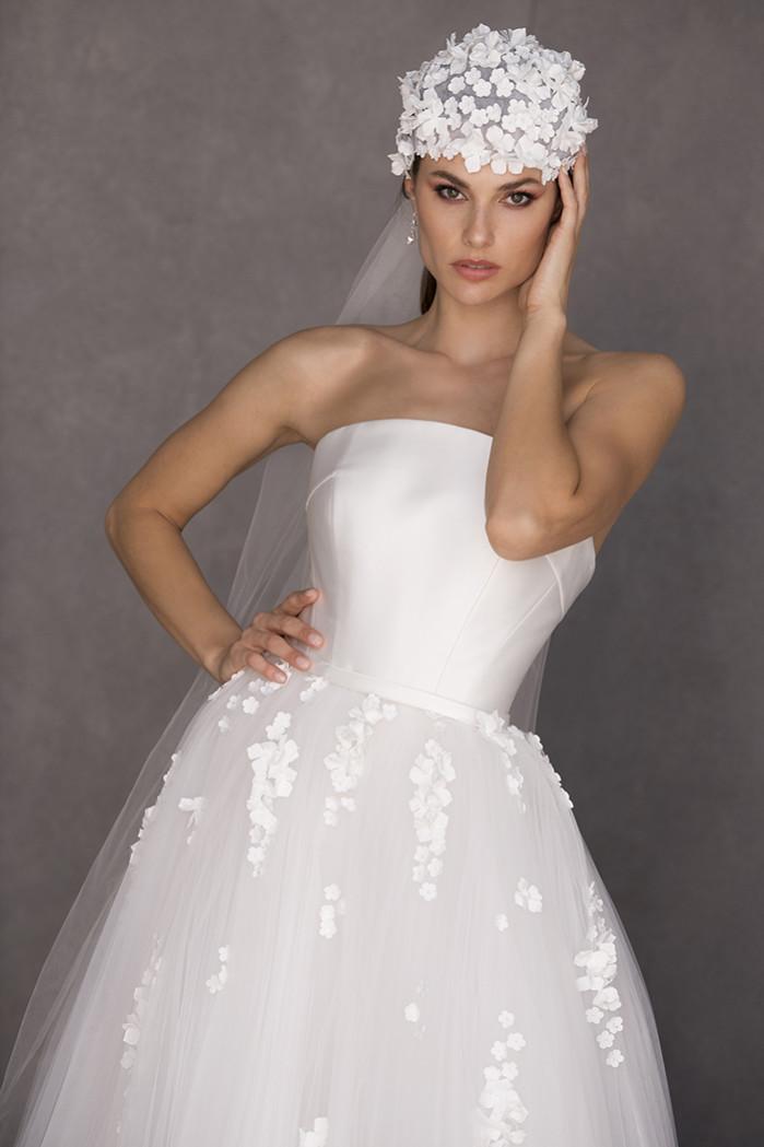 Bride wearing Juliet Cap Veil