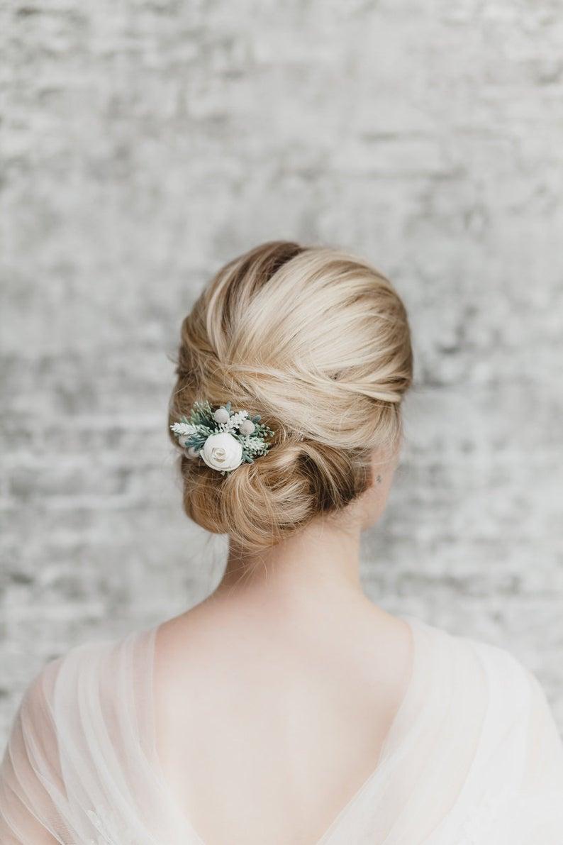 Bride wearing barrette accessory