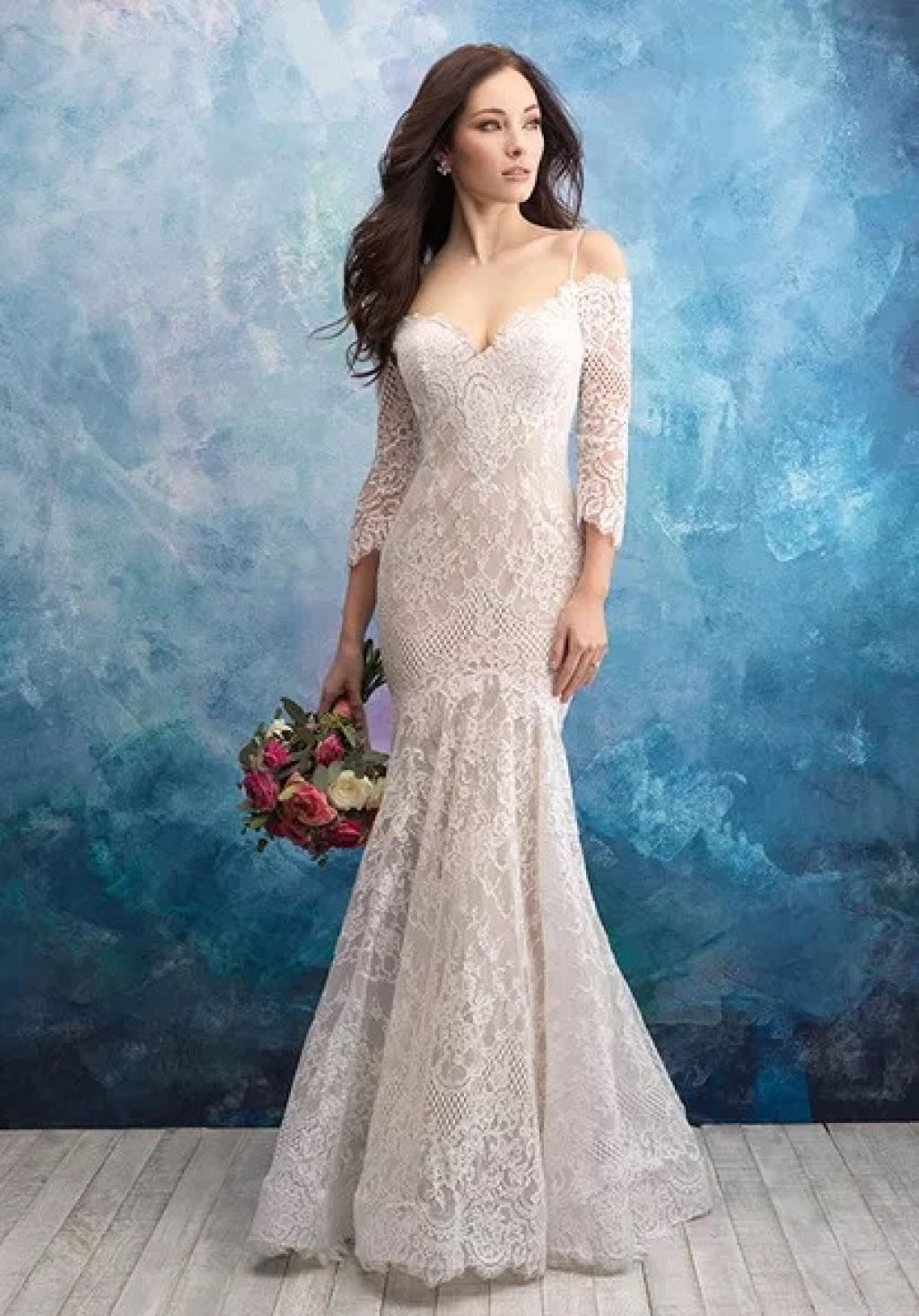 Stunning off the shoulder wedding dress by Allure Bridals with 3/4 sleeves