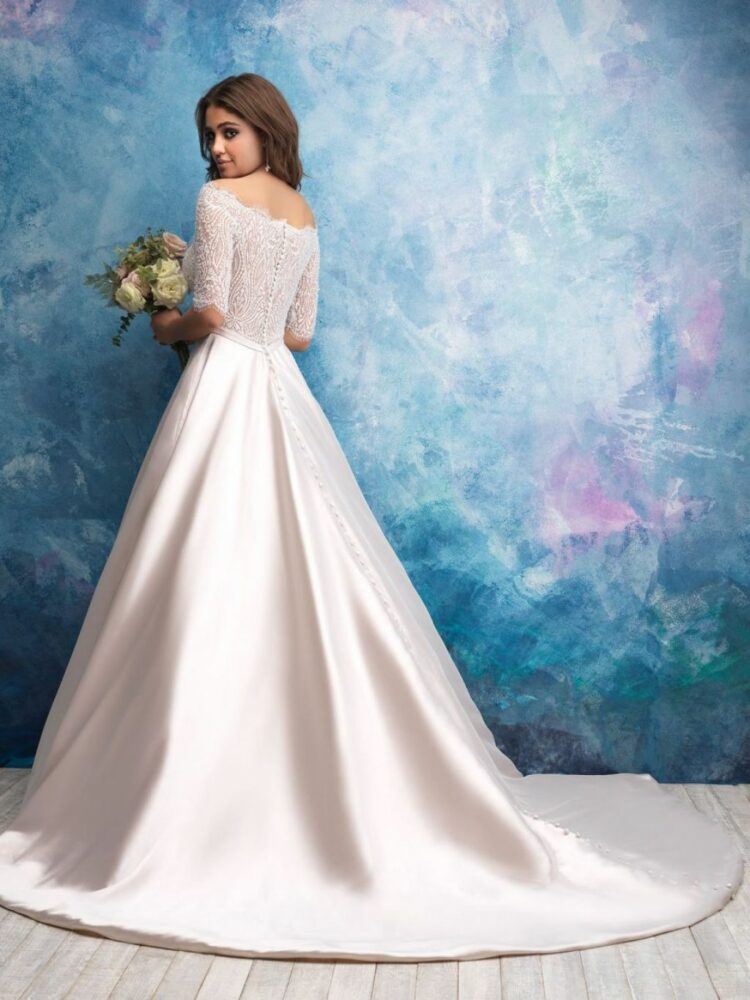 Allure Bridals 9553 gown with three-quarter sleeves and chapel length train